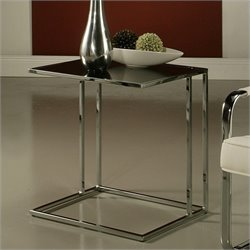 Pastel Furniture Norway Glass Top End Table in Black