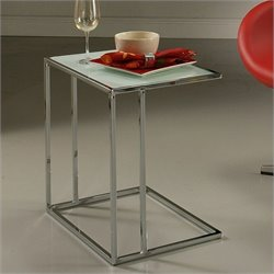 Pastel Furniture Norway Glass Top End Table in White