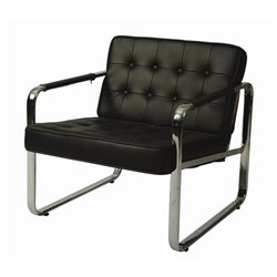 Pastel Furniture Tibet Faux Leather Club Chair in Black
