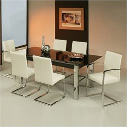 Pastel Furniture Monaco Black Glass 7 Piece Dining Set in Black and White
