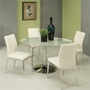 Pastel Furniture Sundance Frosted Glass 5 Piece Dining Set in White