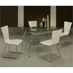 Pastel Furniture Roman 5 piece Rectangular Glass Top Dining Table Set