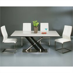 Pastel Furniture Charlize 5 Piece White Glass Top Dining Table Set in Walnut