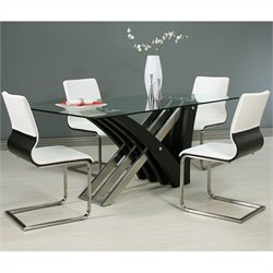Pastel Furniture Akasha 5 Piece Glass Top Dining Table Set in Steel and Walnut