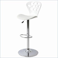 Pastel Furniture Pixie Hydraulic Barstool in Chrome and Glossy White