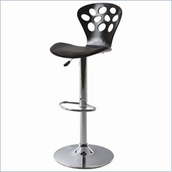 Pastel Furniture Pixie Hydraulic Barstool in Chrome and Graphite Black