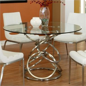 Pastel Furniture Roxanne Dining Table in Stainless Steel