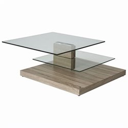 Pastel Furniture Fountain Valley Coffee Table in Stainless Steel and Sonoma