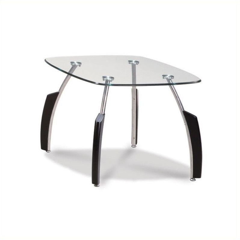 Francis End Table with Glass Top in Black