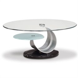 Global Furniture USA Juno Oval Glass Top Coffee Table in Black