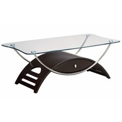 Global Furniture USA Sweeney Rectangular Glass Top Coffee Table in Wenge