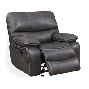 Global Furniture Faux Leather Glider Recliner in Gray