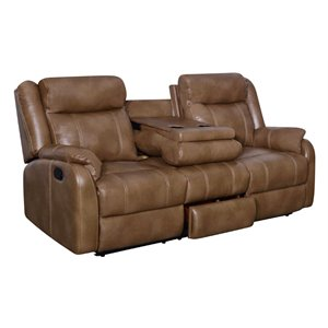 Global Furniture Reclining Sofa with Drop Down Table in Walnut Brown