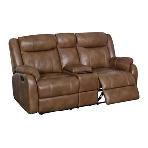Global Furniture Faux Leather Console Reclining Loveseat in Walnut