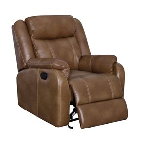 Global Furniture Faux Leather Glider Recliner in Walnut Brown