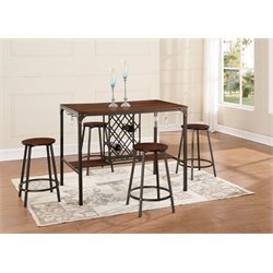 Global Furniture 4 Piece Pub Set in Dark Brown and Black