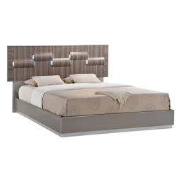 Global Furniture Adel LED Panel Bed in Gray