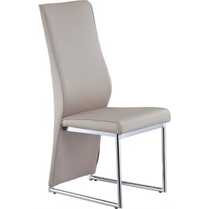 Global Furniture Faux Leather Dining Chair in Champagne