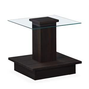 Global Furniture Square Glass Top End Table in Wenge