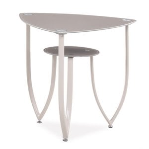 Global Furniture Glass Top End Table in Beige