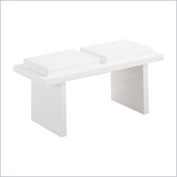 Global Furniture Upholstered Bench in Glossy White