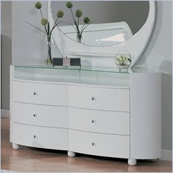 Global Furniture USA Emily Six Drawer Dresser in White
