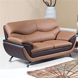 Global Furniture USA 2106 Leather Loveseat in Light/Dark Brown