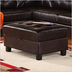 Global Furniture Usa 5190 Leather Storage Ottoman In Espresso