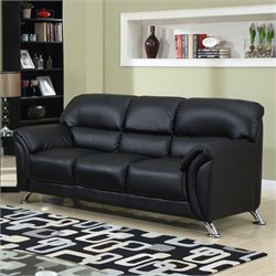 Global Furniture USA 9103 PVC Faux Leather Sofa in Black/Chrome Legs
