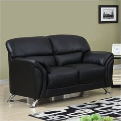 Global Furniture USA Faux Leather Loveseat in Black/Chrome Legs