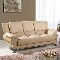 Global Furniture USA 9908 Leather Sofa in Cappuccino with Chrome Legs
