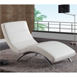 Global Furniture USA R820 Chaise in White Leather with Chrome Legs