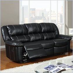 Global Furniture USA 9966 Reclining Sofa in Black Leather