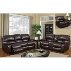 Global Furniture USA 8122 Reclining 3 Piece Sofa Set in Burgundy Leather