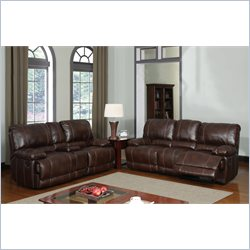 Global Furniture USA 1953 Recliner 2 Piece Sofa Set in Brown Leather