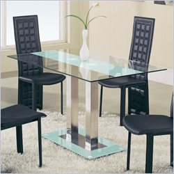 Global Furniture USA Jord Glass Dining Table in Frosted Stripe
