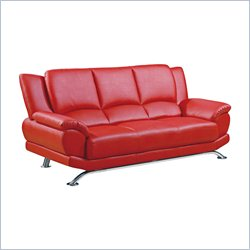 Global Furniture Leather Sofa with Chrome Legs in Red