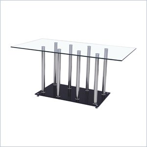 Global Furniture Rectangular Dining Table in Clear with Chrome Legs