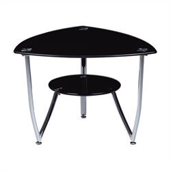 Global Furniture End Table with Chrome Legs in Black