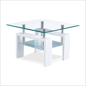 Global Furniture End Table with Frosted Shelf in Glossy White