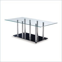 Global Furniture Clear Top Coffee Table with Black Base