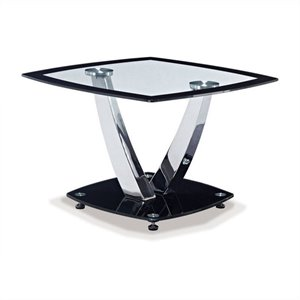 Global Furniture Clear End Table with Black Trim and Base