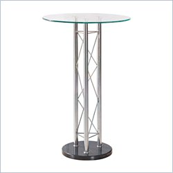 Global Furniture Clear Top Circular Bar Table in Black