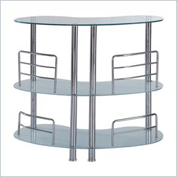 Global Furniture Two Shelf Frosted Bar Table with Chrome Legs