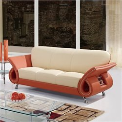 Global Furniture USA Charles Leather Sofa in Beige and Orange