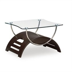 Global Furniture USA Sweeney Glass End Table in Wenge Finish