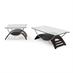 Global Furniture USA Sweeney 2 Piece Glass Top Occasional Table Set in Wenge