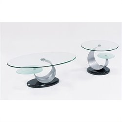 Global Furniture USA Juno 2 Piece Glass Top Coffee Table Set in Black