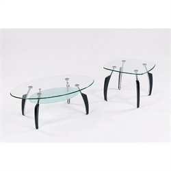 Global Furniture USA Francis 2 Piece Coffee Table Set in Black