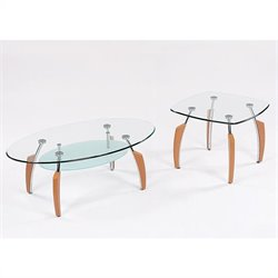 Global Furniture USA Francis 2 Piece Coffee Table Set in Natural Light Cherry
